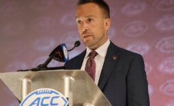 Jul 22, 2021; Charlotte, NC, USA;  Boston College Eagles  coach Jeff Hafley speaks to the media during the ACC Kickoff at The Westin Charlotte. Mandatory Credit: Jim Dedmon-USA TODAY Sports