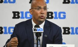 Jul 22, 2021; Indianapolis, Indiana, USA;  Penn State Nittany Lions head coach James Franklin speaks to the media during Big 10 media days at Lucas Oil Stadium. Mandatory Credit: Robert Goddin-USA TODAY Sports