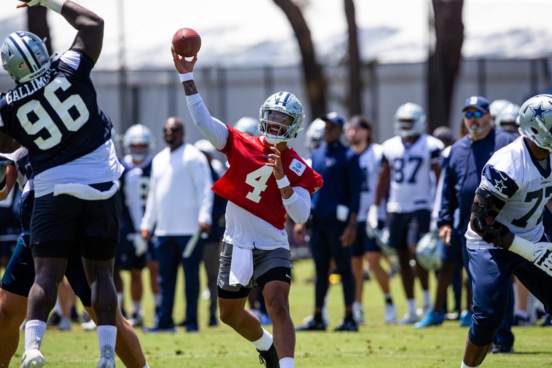 Jul 22, 2021; Oxnard, CA, USA; Dallas Cowboys quarterback Dak Prescott (4) during training camp practice at the Marriott Residence Inn. Mandatory Credit: Jason Parkhurst-USA TODAY Sports
