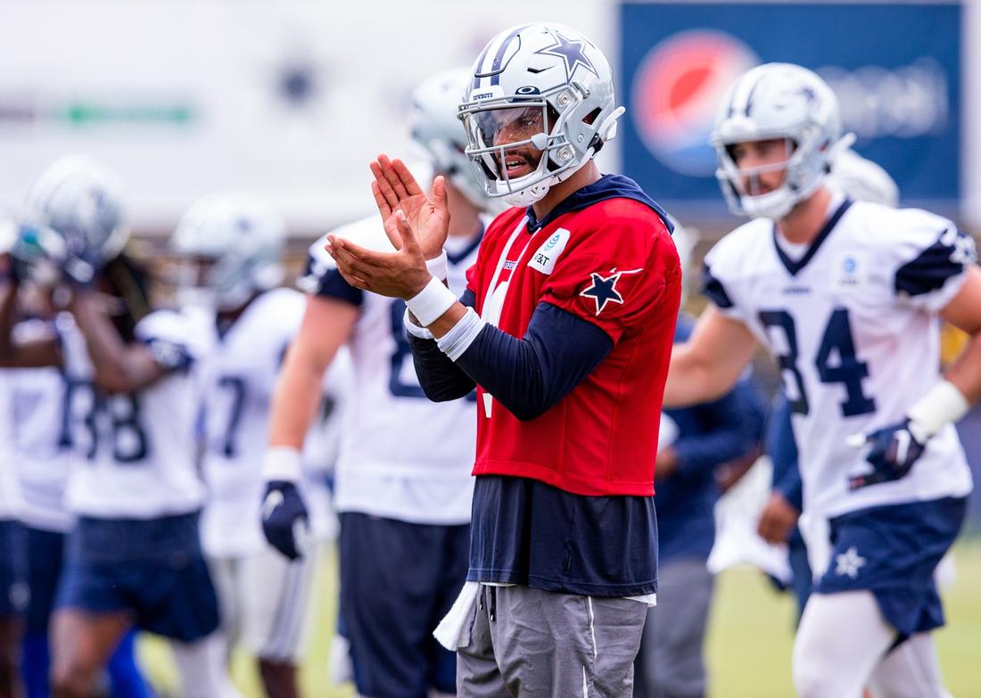 Jul 25, 2021; Oxnard, CA, USA; Dallas Cowboys quarterback Dak Prescott (4) during training camp at the Marriott Residence Inn. Mandatory Credit: Jason Parkhurst-USA TODAY Sports