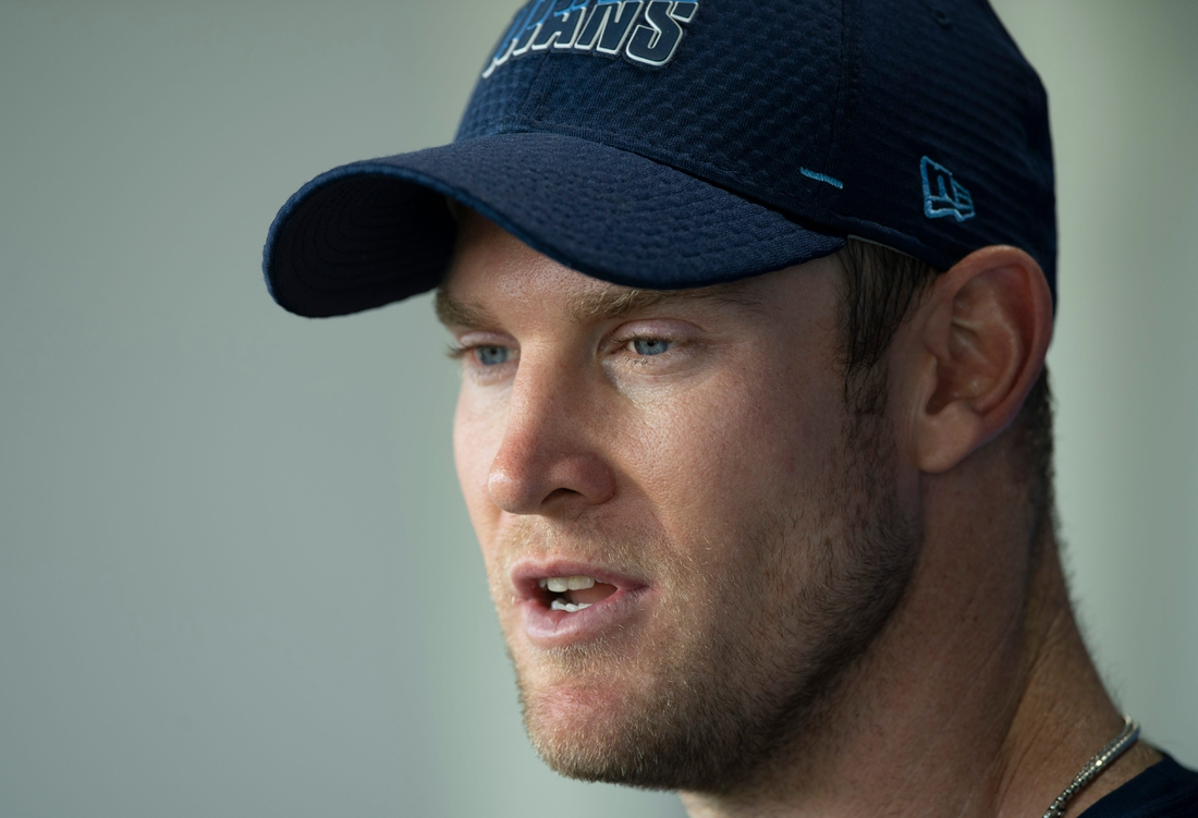 Tennessee Titans quarterback Ryan Tannehill answers questions from the media after a training camp practice at Saint Thomas Sports Park Wednesday, July 28, 2021 in Nashville, Tenn.  Nas 0728 Titans Camp 035