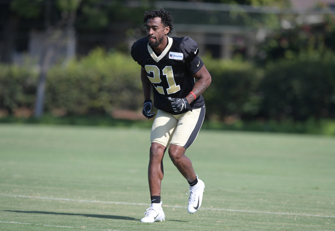 Aug 23, 2018; Costa Mesa, CA, USA: New Orleans Saints defensive back Patrick Robinson (21) during joint practice against the Los Angeles Chargers at the Jack. R. Hammett Sports Complex. Mandatory Credit: Kirby Lee-USA TODAY Sports