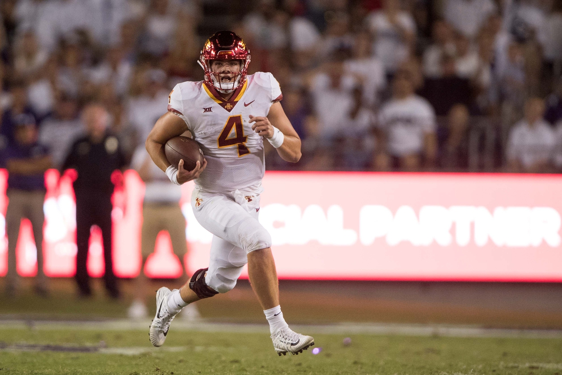 Sep 29, 2018; Fort Worth, TX, USA; Iowa State Cyclones quarterback Zeb Noland (4) in action during the game against the TCU Horned Frogs at Amon G. Carter Stadium. Mandatory Credit: Jerome Miron-USA TODAY Sports