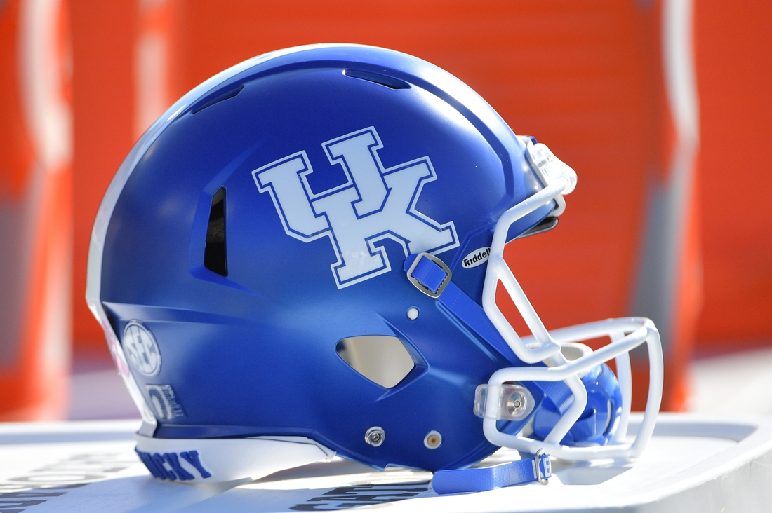 Oct 27, 2018; Columbia, MO, USA; A general view of a Kentucky Wildcats helmet during the game against the Missouri Tigers at Memorial Stadium/Faurot Field. Kentucky won 15-14. Mandatory Credit: Denny Medley-USA TODAY Sports
