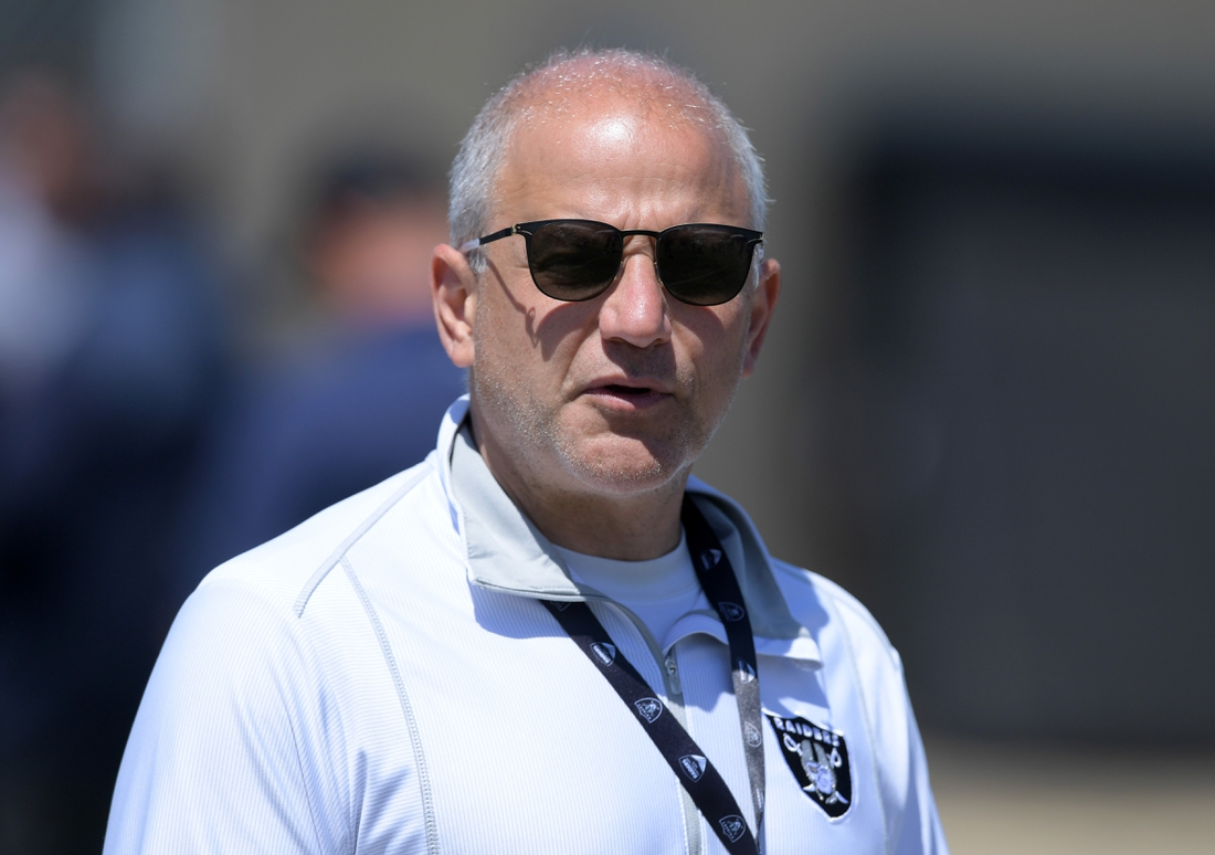 Aug 7, 2019; Napa, CA, USA; Oakland Raiders president Marc Badain during a training camp joint practice against the Los Angeles Rams at Napa Valley Marriott. Mandatory Credit: Kirby Lee-USA TODAY Sports