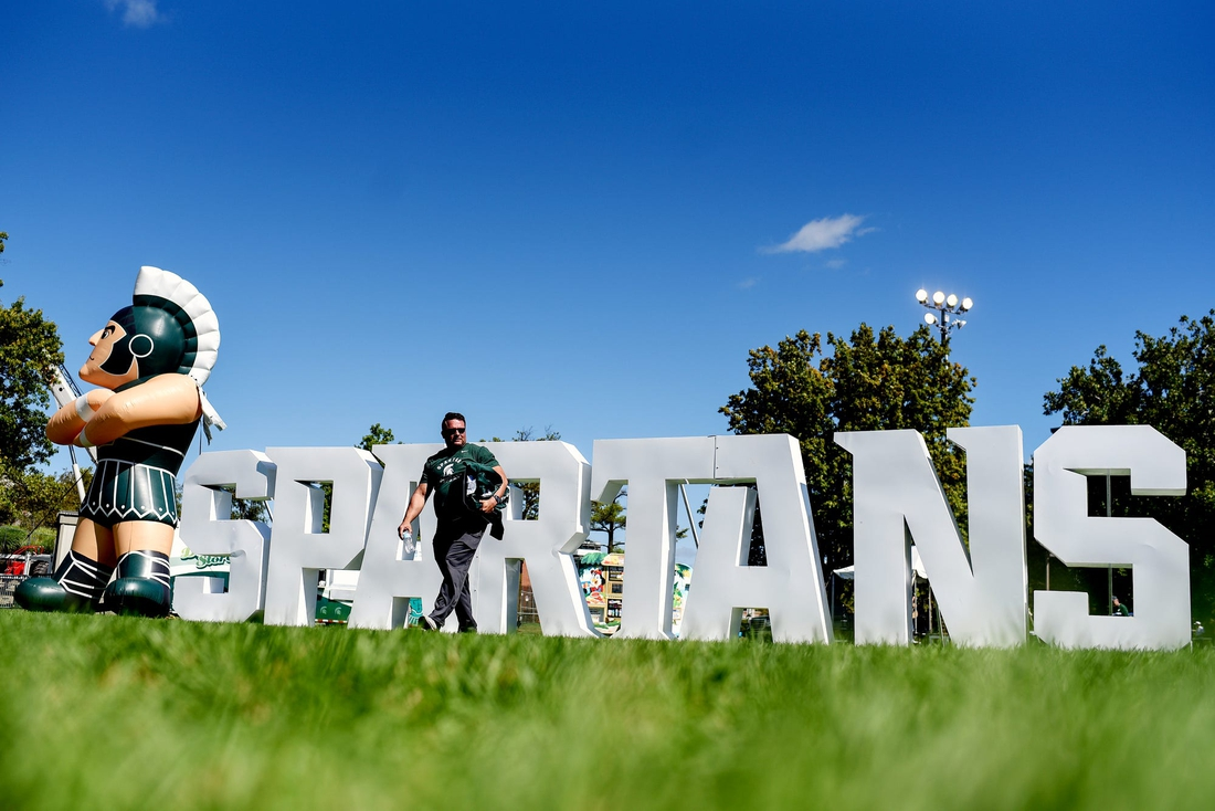 A blow-up Sparty and Spartans letters are on display at Munn Field before Michigan State's football game against Arizona State on Saturday, Sept. 14, 2019, in East Lansing.  1909014 Msu Asu 004a