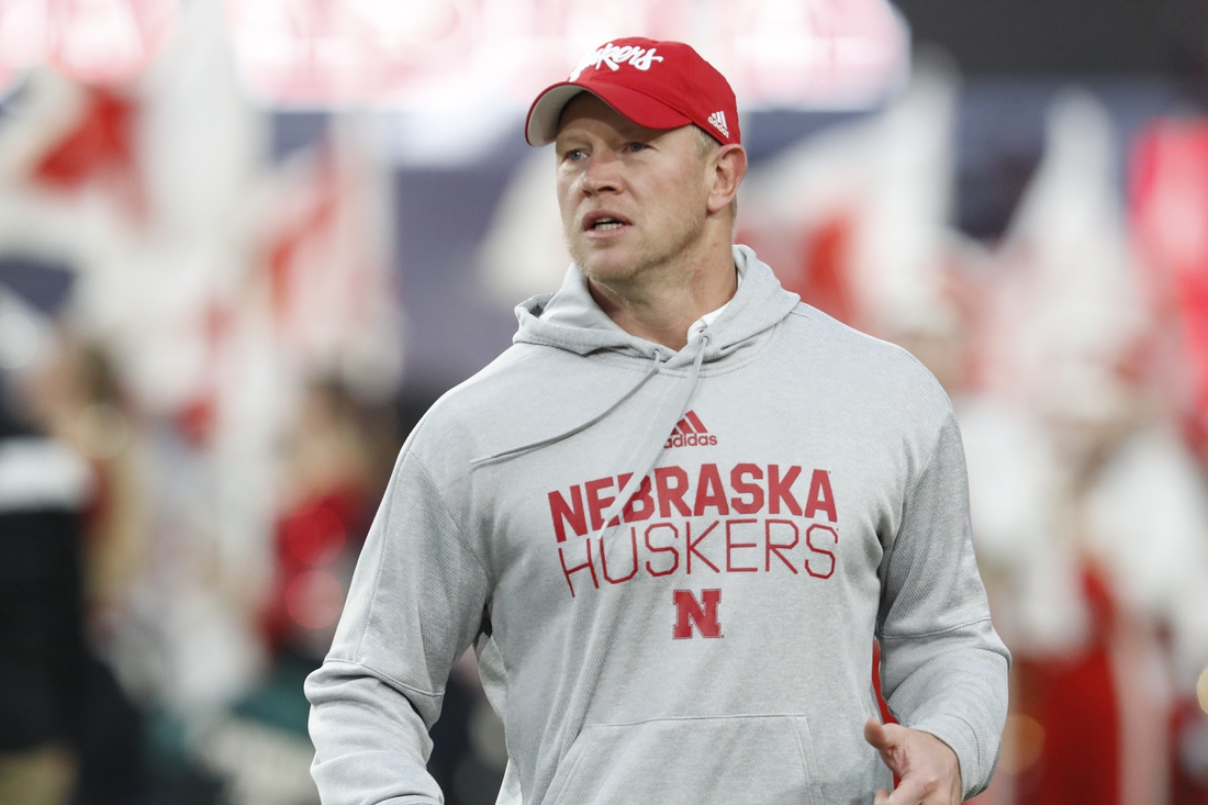 Sep 28, 2019; Lincoln, NE, USA; Nebraska Cornhuskers head coach Scott Frost heads onto the field prior to the game against the Ohio State Buckeyes at Memorial Stadium. Mandatory Credit: Bruce Thorson-USA TODAY Sports