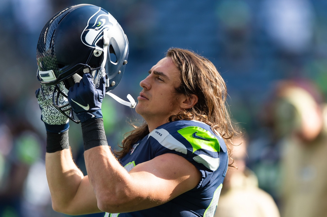 Nov 3, 2019; Seattle, WA, USA; Seattle Seahawks tight end Luke Willson (82) prior to the game at CenturyLink Field. Seattle defeated Tampa Bay 40-34. Mandatory Credit: Steven Bisig-USA TODAY Sports