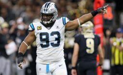 Nov 24, 2019; New Orleans, LA, USA; Carolina Panthers defensive tackle Gerald McCoy (93) gestures in the second quarter against the New Orleans Saints at the Mercedes-Benz Superdome. Mandatory Credit: Chuck Cook-USA TODAY Sports