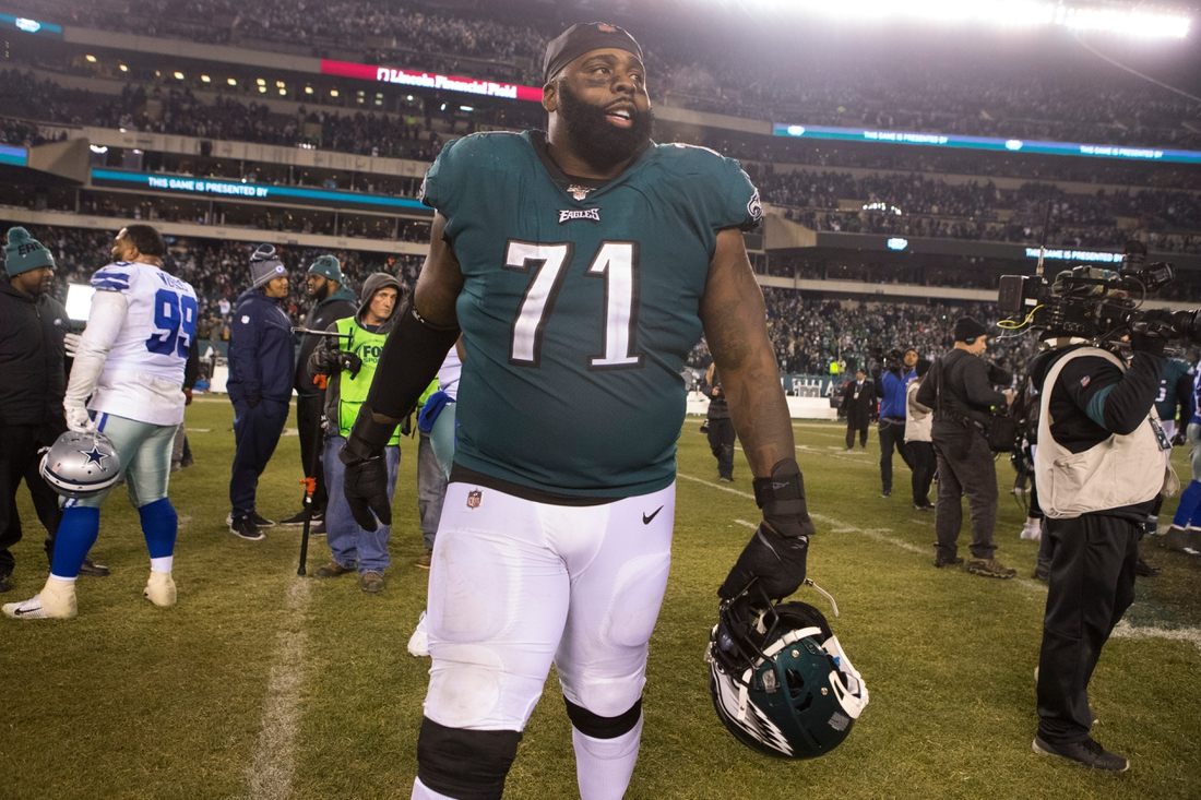 Eagles' Jason Peters walks the field after after defeating the Dallas Cowboys 17-9 Sunday night.  Sports Eagles Cowboys