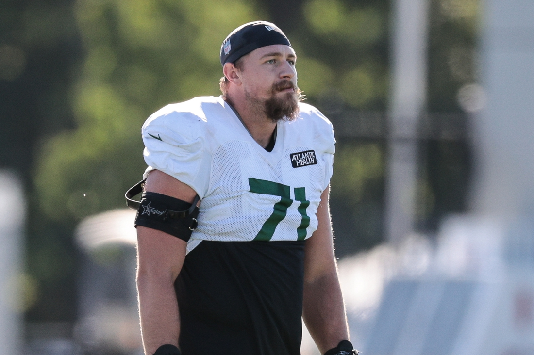 Aug 20, 2020; Florham Park, New Jersey, USA; New York Jets guard Alex Lewis (71) looks on during training camp at Atlantic Health Center.  Mandatory Credit: Vincent Carchietta-USA TODAY Sports