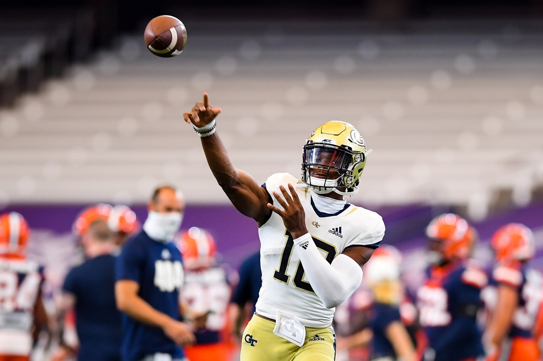 Sep 26, 2020; Syracuse, New York, USA; Georgia Tech Yellow Jackets quarterback Jeff Sims (10) warms up prior to the game against the Syracuse Orange at the Carrier Dome. Mandatory Credit: Rich Barnes-USA TODAY Sports
