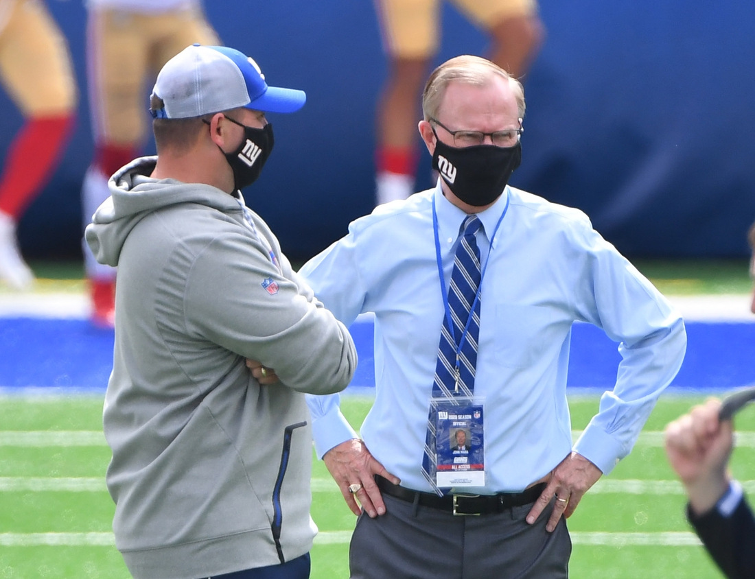 Sep 27, 2020; East Rutherford, New Jersey, USA; New York Giants head coach Joe Judge (left) with co-owner John Mara before a NFL football game against the San Francisco 49ers at MetLife Stadium. Mandatory Credit: Robert Deutsch-USA TODAY Sports