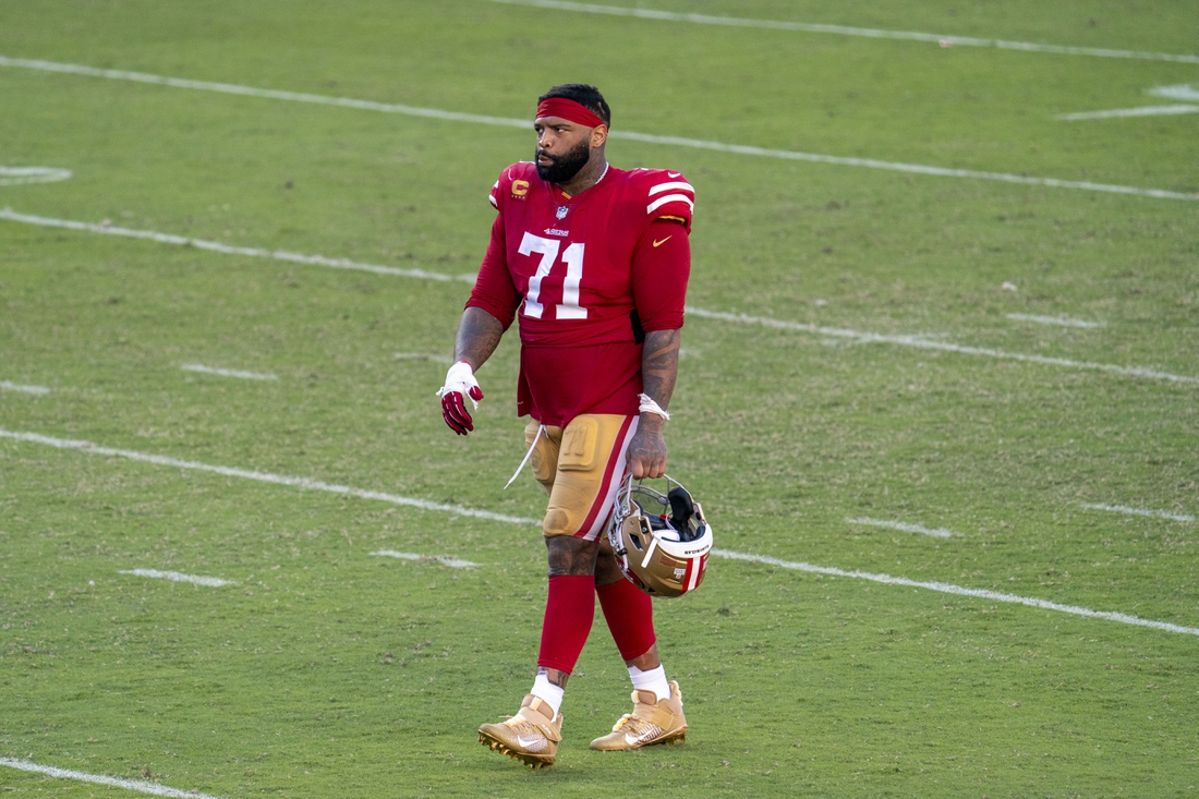 October 11, 2020; Santa Clara, California, USA; San Francisco 49ers offensive tackle Trent Williams (71) walks off the field after the game against the Miami Dolphins at Levi's Stadium. Mandatory Credit: Kyle Terada-USA TODAY Sports
