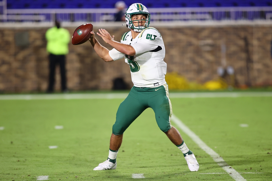 Oct 31, 2020; Durham, North Carolina, USA; Charlotte 49ers quarterback Chris Reynolds (3) gets ready to throw the ball during the first quarter of the game against the Charlotte 49ers at Wallace Wade Stadium. Mandatory Credit: Jaylynn Nash-USA TODAY Sports