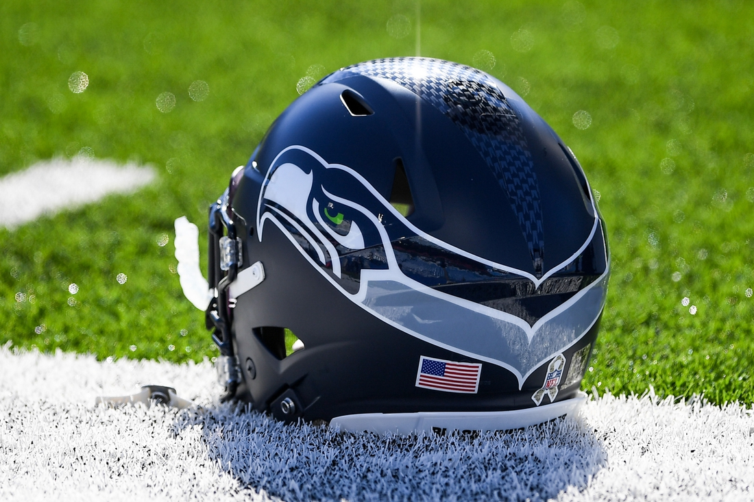 Nov 8, 2020; Orchard Park, New York, USA; General view of a Seattle Seahawks helmet prior to the game against the Buffalo Bills at Bills Stadium. Mandatory Credit: Rich Barnes-USA TODAY Sports