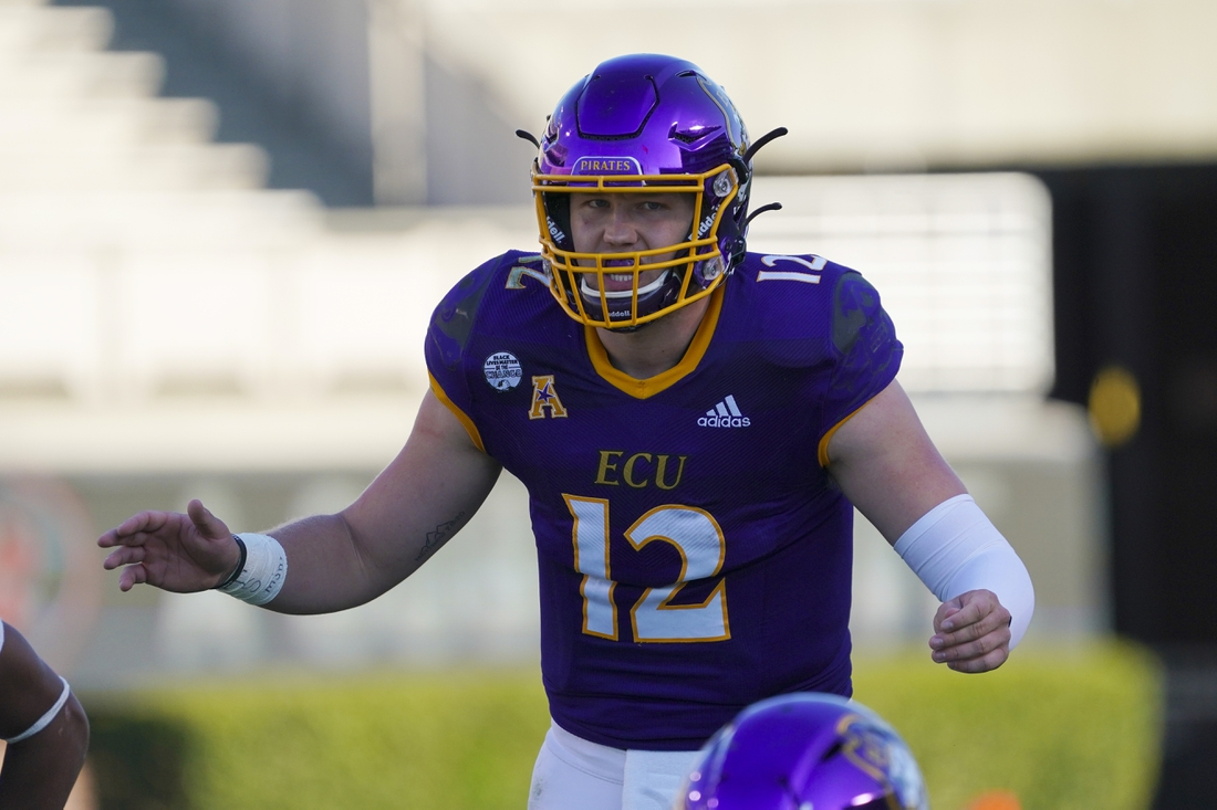 Nov 28, 2020; Greenville, North Carolina, USA; East Carolina Pirates quarterback Holton Ahlers (12) waits for the snap against the Southern Methodist Mustangs at Dowdy-Ficklen Stadium. Mandatory Credit: James Guillory-USA TODAY Sports