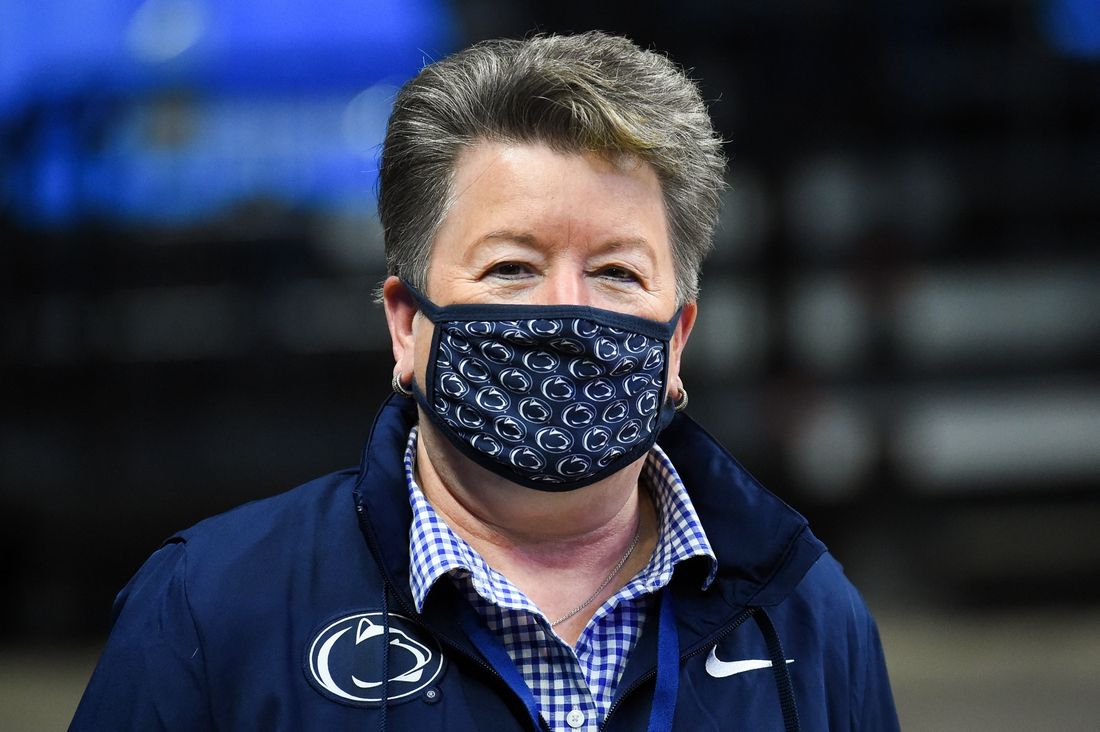 Dec 6, 2020; University Park, Pennsylvania, USA; Penn State Nittany Lions athletic director Sandy Barbour prior to the game against the Seton Hall Pirates at the Bryce Jordan Center. Mandatory Credit: Rich Barnes-USA TODAY Sports