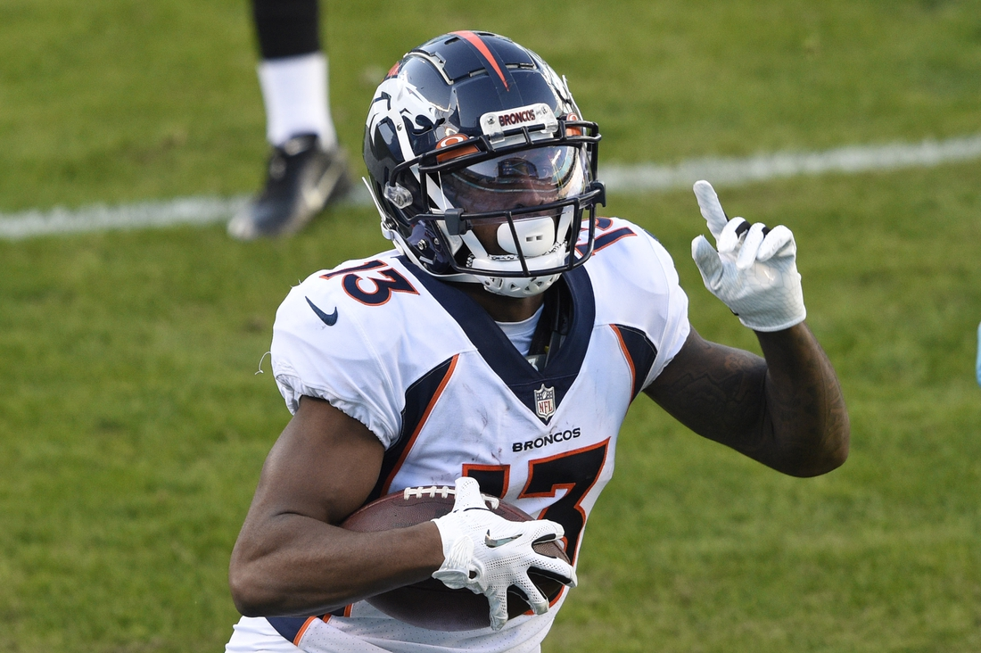 Dec 13, 2020; Charlotte, North Carolina, USA; Denver Broncos wide receiver KJ Hamler (13) scores a touchdown in the third quarter at Bank of America Stadium. Mandatory Credit: Bob Donnan-USA TODAY Sports