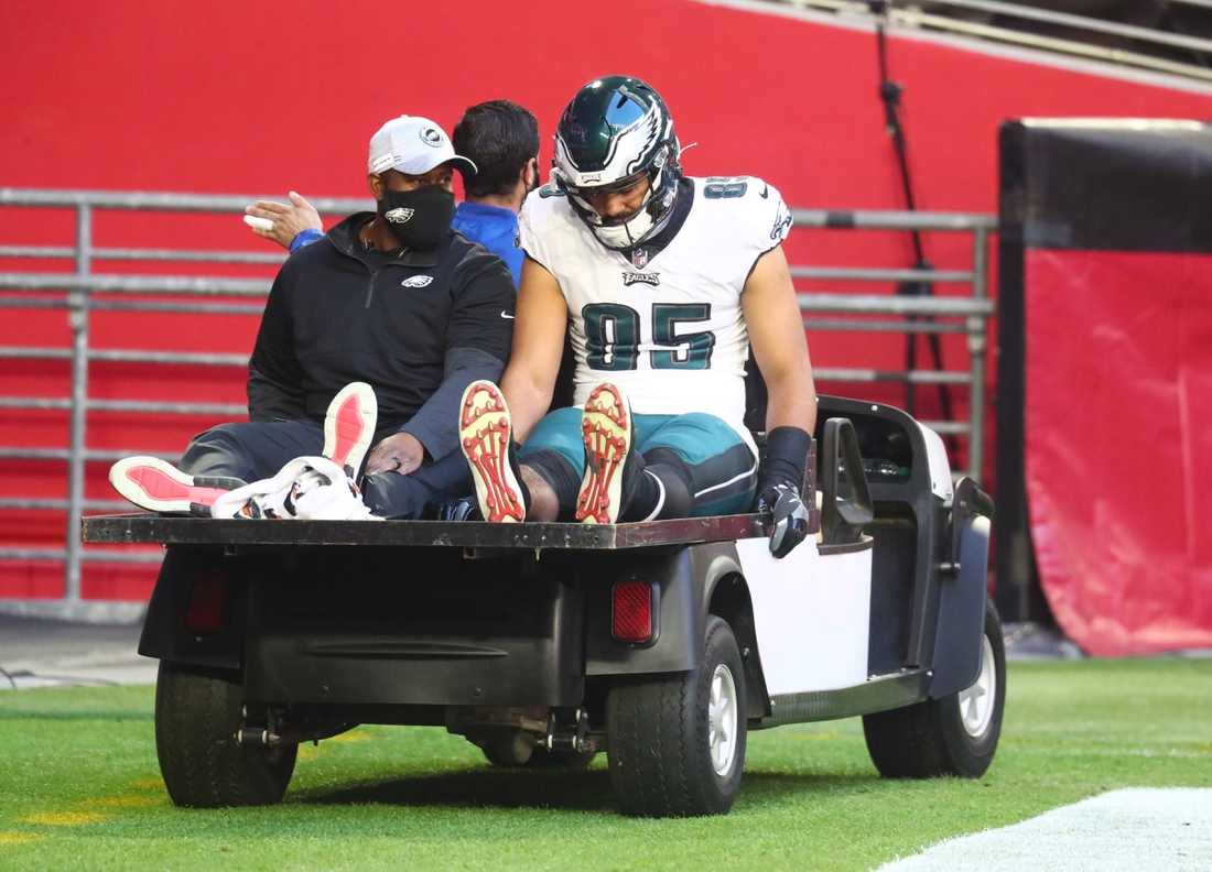 Dec 20, 2020; Glendale, Arizona, USA; Philadelphia Eagles tight end Richard Rodgers (85) is carted off the field after suffering an injury against the Arizona Cardinals at State Farm Stadium. Mandatory Credit: Mark J. Rebilas-USA TODAY Sports