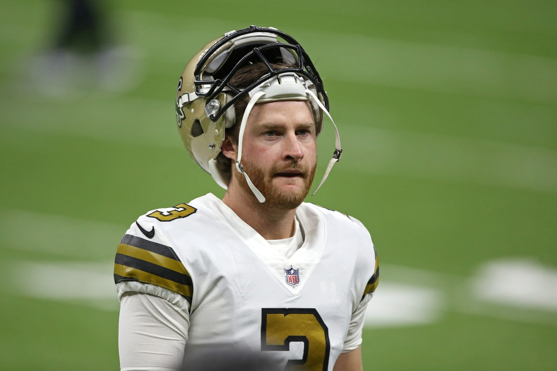 Dec 25, 2020; New Orleans, Louisiana, USA; New Orleans Saints kicker Wil Lutz (3) before their game against the Minnesota Vikings at the Mercedes-Benz Superdome. Mandatory Credit: Chuck Cook-USA TODAY Sports