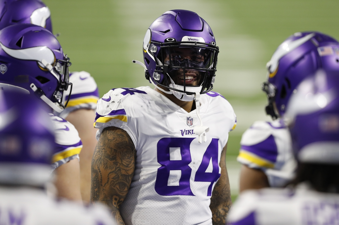 Jan 3, 2021; Detroit, Michigan, USA; Minnesota Vikings tight end Irv Smith (84) before the game against the Detroit Lions at Ford Field. Mandatory Credit: Raj Mehta-USA TODAY Sports