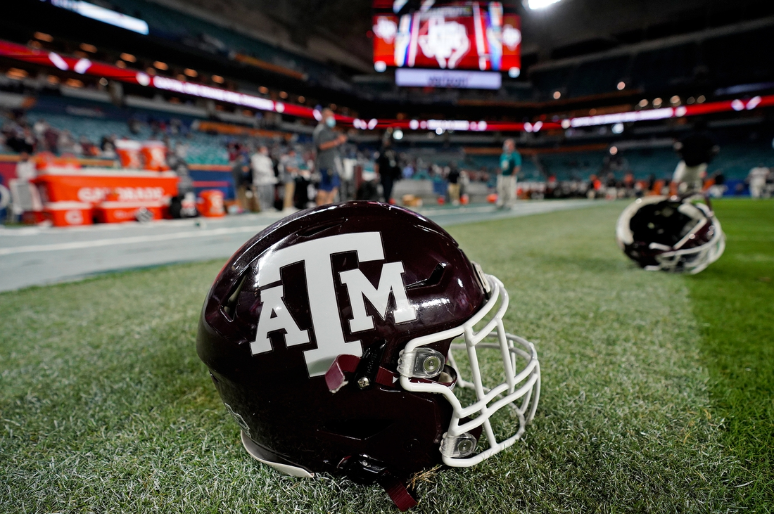 Jan 2, 2021; Miami Gardens, FL, USA; A pair of Texas A&M Aggies helmets on the field after the the Texas A&M Aggies defeated the North Carolina Tar Heels at Hard Rock Stadium. Mandatory Credit: Jasen Vinlove-USA TODAY Sports