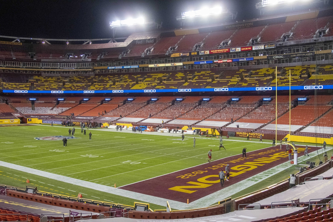 Jan 9, 2021; Landover, Maryland, USA; General view of FedEx Field before the game between the Washington Football Team and the Tampa Bay Buccaneers. Mandatory Credit: Brad Mills-USA TODAY Sports
