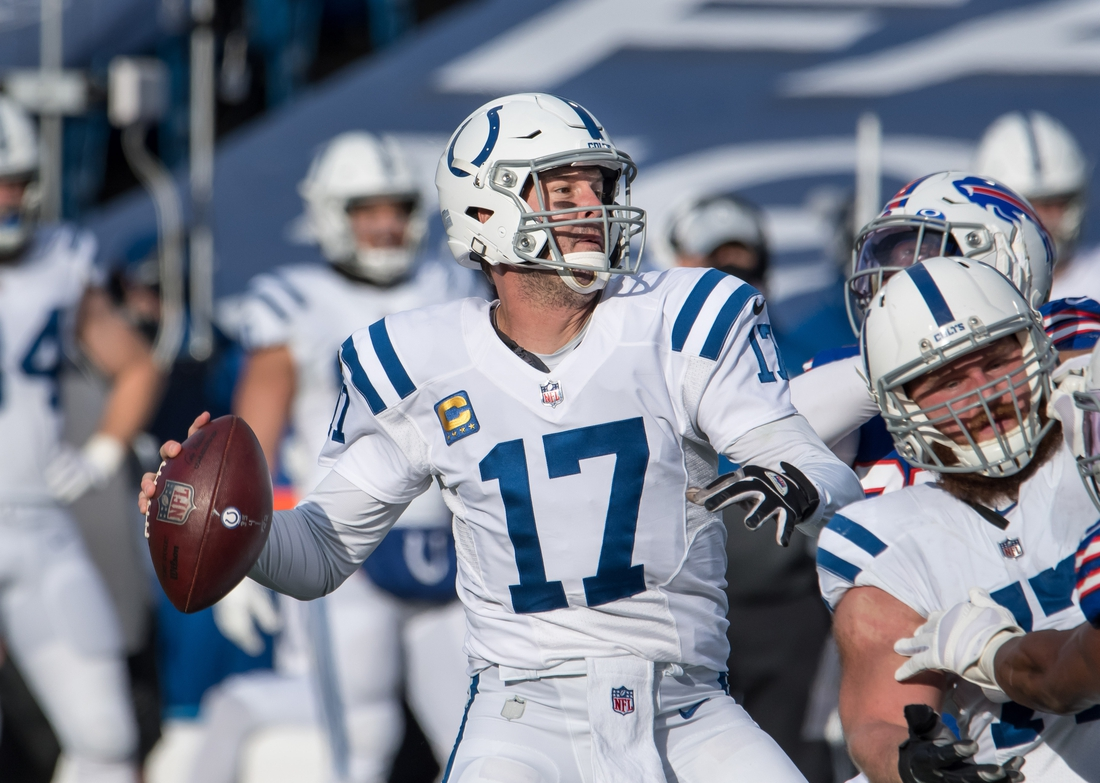 Jan 9, 2021; Orchard Park, New York, USA; Indianapolis Colts quarterback Philip Rivers (17) looks to throw a pass in the second quarter wildcard playoff game against the Buffalo Bills at Bills Stadium. Mandatory Credit: Mark Konezny-USA TODAY Sports