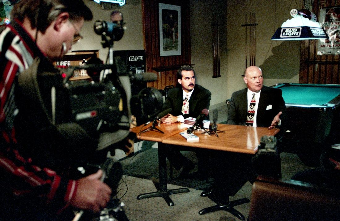 Houston Oilers head coach Jeff Fisher, left, and General Manager Floyd Reese answer questions from the local media on a visit to Nashville Jan. 3, 1996. The pair are part of a statewide promotional tour of cities as the Oilers are trying to fulfill milestones agreed to in a $292.1 million package to move the team to Nashville for the 1998 season.