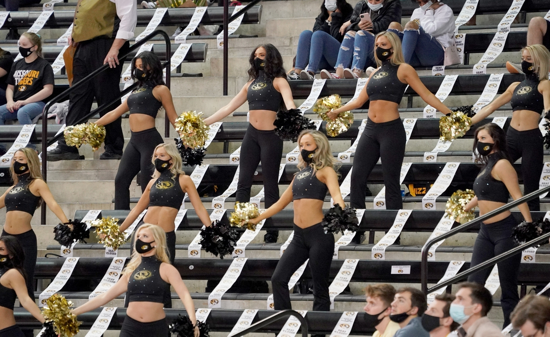 Mar 6, 2021; Columbia, Missouri, USA; The Missouri Tigers Golden Girls perform during the first half of the game against the LSU Tigers at Mizzou Arena. Mandatory Credit: Denny Medley-USA TODAY Sports