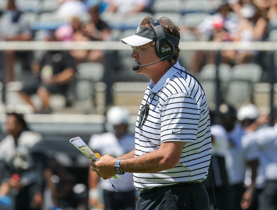 Apr 10, 2021; Orlando, Florida, USA; UCF Knights head coach Gus Malzahn looks on during the first quarter of the UCF Knights spring Game. Mandatory Credit: Mike Watters-USA TODAY Sports