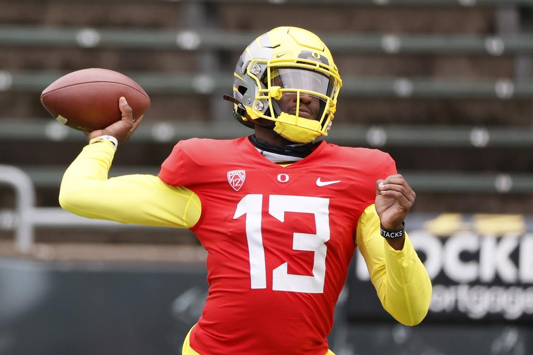 May 1, 2021; Eugene, Oregon, USA; Oregon Ducks quarterback Anthony Brown (13) looks to throw during Oregon Spring Game at Autzen Stadium. Mandatory Credit: Soobum Im-USA TODAY Sports