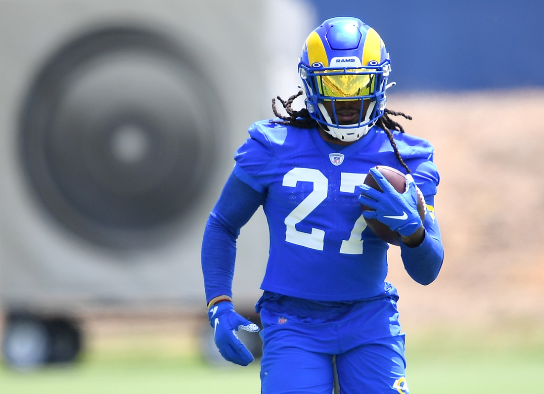 Jun 8, 2021; Thousand Oaks, CA, USA;   Los Angeles Rams running back Darrell Henderson (27) participates in drills during mini camp held at the practice facility at Cal State Lutheran. Mandatory Credit: Jayne Kamin-Oncea-USA TODAY Sports