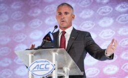 Jul 22, 2021; Charlotte, NC, USA;  Florida State Seminoles Coach Mike Norvell speaks to the media during the ACC Kickoff at The Westin Charlotte. Mandatory Credit: Jim Dedmon-USA TODAY Sports