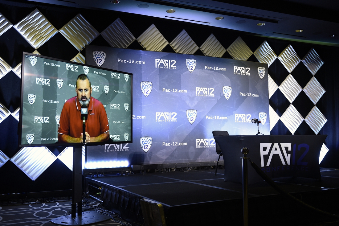 Jul 27, 2021; Hollywood, CA, USA; Washington State Cougars head coach Nick Rolovich speaks with the media during the Pac-12 football Media Day at the W Hollywood. Mandatory Credit: Kelvin Kuo-USA TODAY Sports