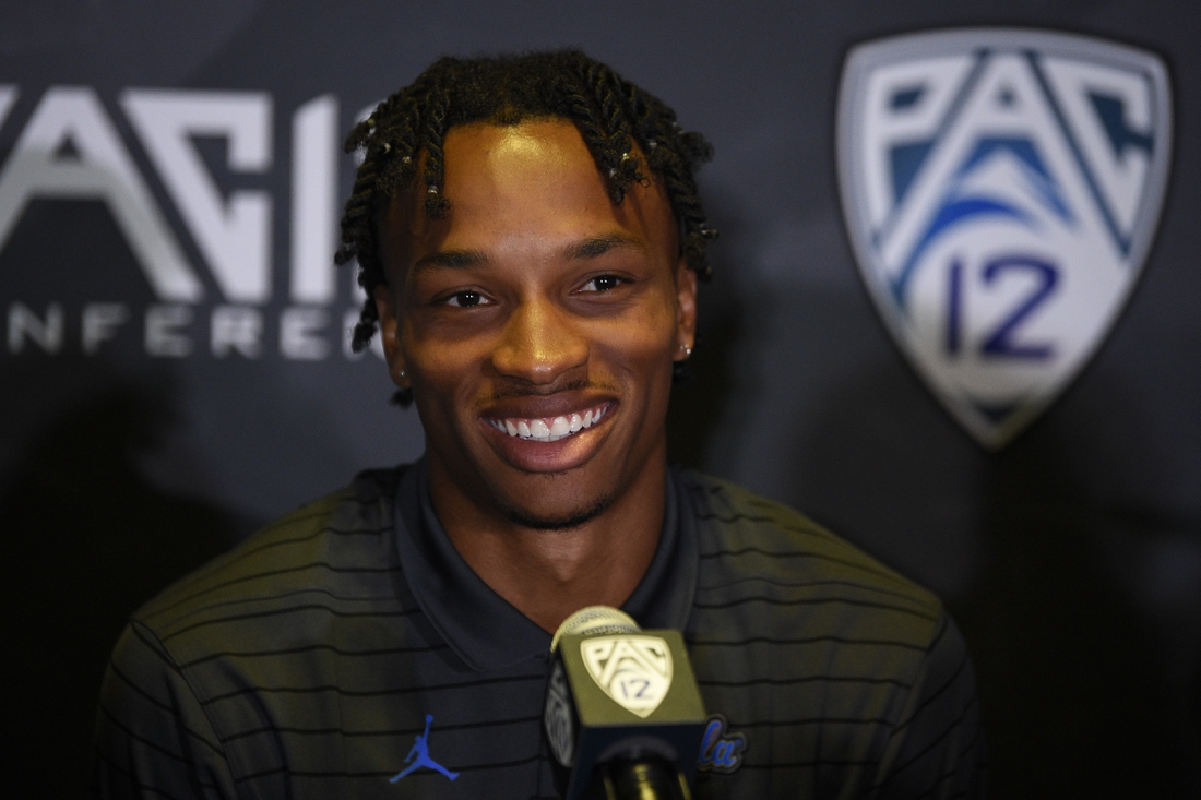 Jul 27, 2021; Hollywood, CA, USA; UCLA Bruins quarterback Dorian Thompson-Robinson speaks with the media during the Pac-12 football Media Day at the W Hollywood. Mandatory Credit: Kelvin Kuo-USA TODAY Sports