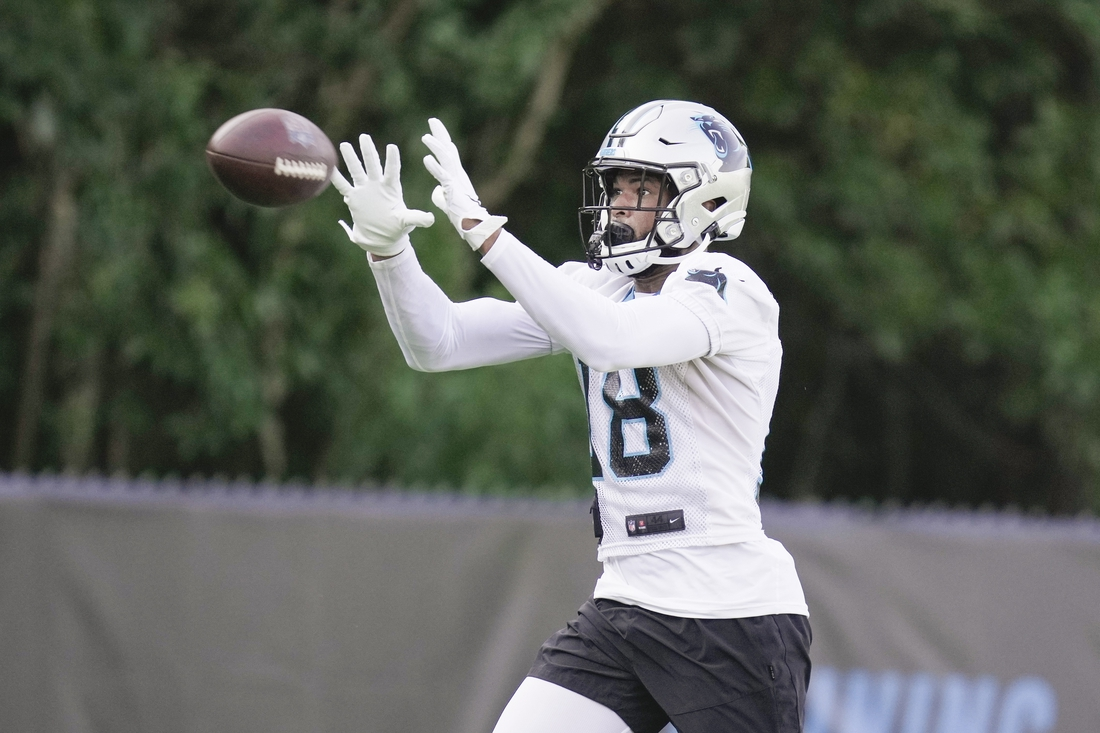 Jul 28, 2021; Charlotte, North Carolina, USA; Carolina Panthers wide receiver Keith Kirkwood (18) makes a catch during the Carolina Panthers Training Camp at Wofford College in Spartanburg, S.C. Mandatory Credit: Jim Dedmon-USA TODAY Sports