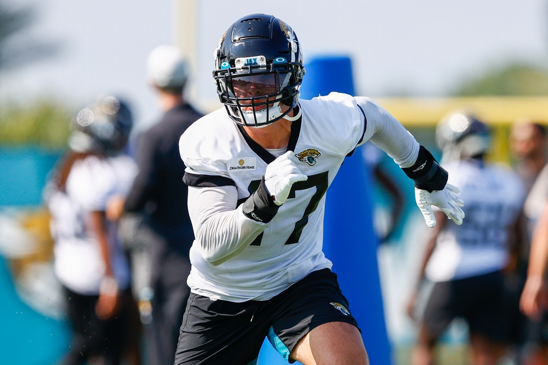 Jul 28, 2021; Jacksonville, FL, USA;  Jacksonville Jaguars middle linebacker Joe Schobert (47) participates in training camp at Dream Finders Homes practice field Mandatory Credit: Nathan Ray Seebeck-USA TODAY Sports