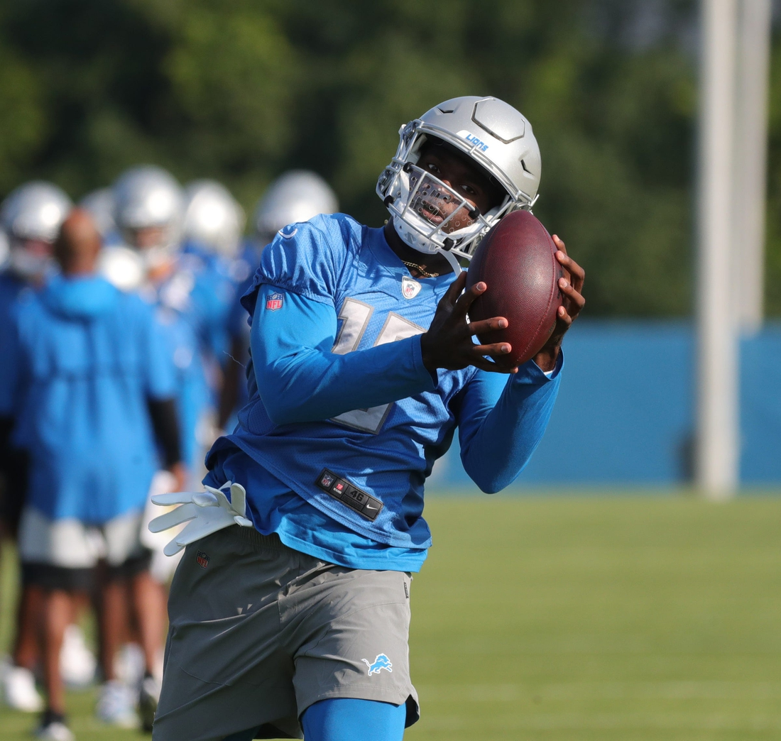 Lions receiver Breshad Perriman catches a pass during training camp at the Allen Park facility on Wednesday, July 28, 2021.  Lions