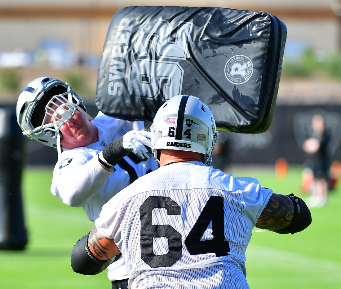Jul 28, 2021; Las Vegas, NV, USA; Las Vegas Raiders guard Richie Incognito (64) puts a hit on tackle Sam Young (79) during a team practice at Intermountain Healthcare Performance Center in Henderson. Mandatory Credit: Stephen R. Sylvanie-USA TODAY Sports