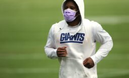 Running back Saquon Barkley jogs off the field at the end of Giants practice, in East Rutherford. Wednesday, July 28, 2021  Giants