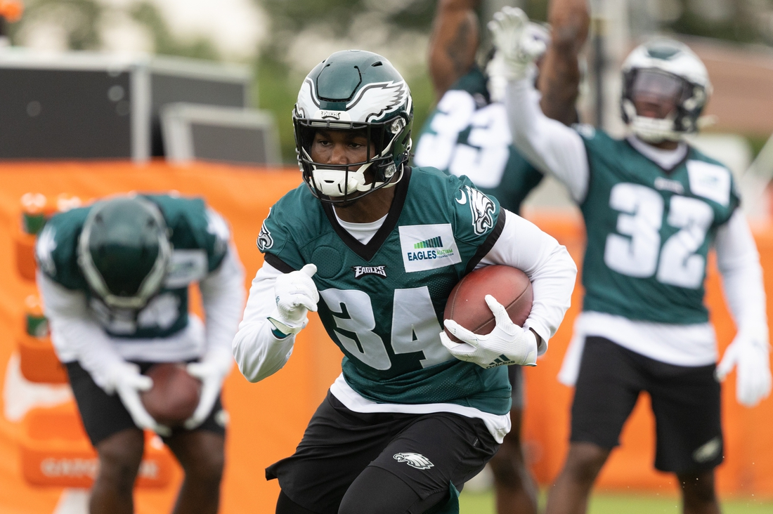 Jul 29, 2021; Philadelphia, PA, USA; Philadelphia Eagles running back Kerryon Johnson (34) in action during training camp at NovaCare Complex. Mandatory Credit: Bill Streicher-USA TODAY Sports