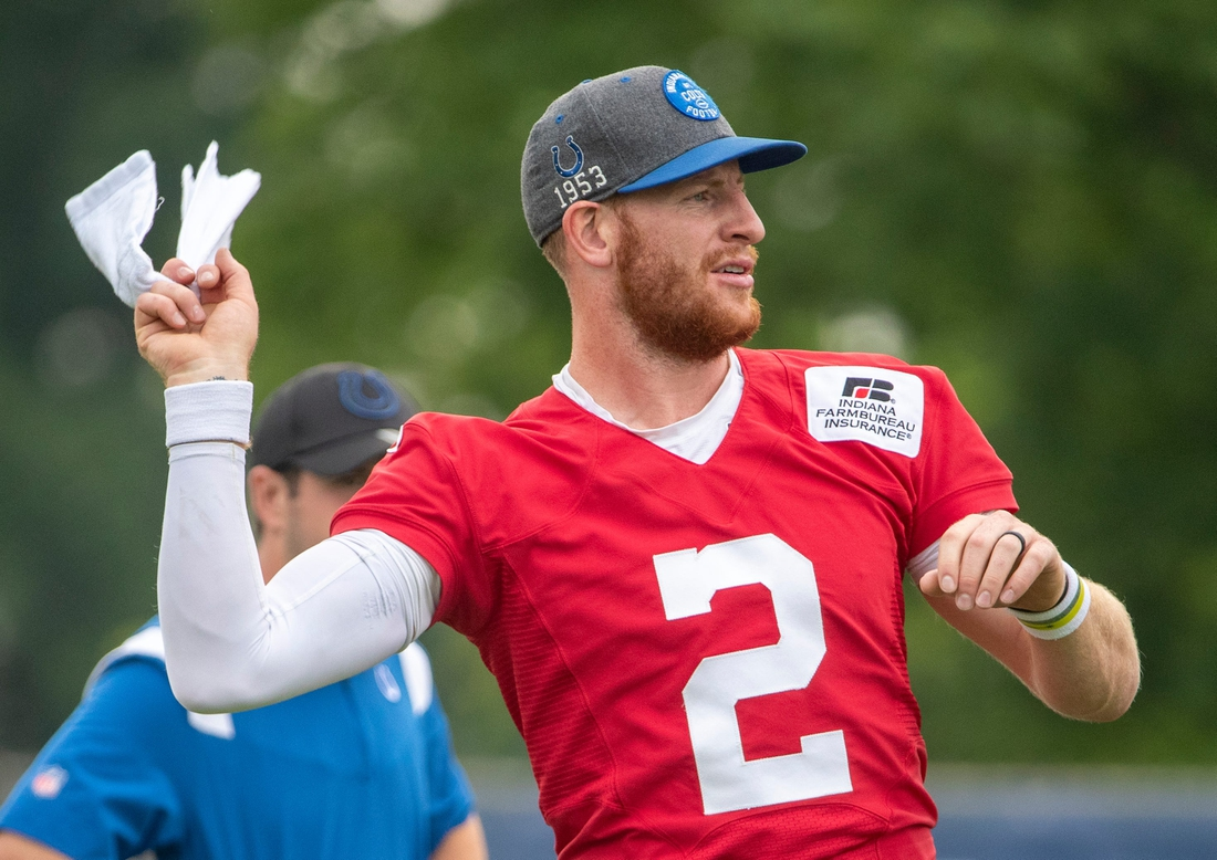 Indianapolis Colts quarterback Carson Wentz (2) at the start of practice at Grand Park in Westfield on Thursday, July 29, 2021, on the second full day of workouts of this summer's Colts training camp.  Colts Camp Revs Up