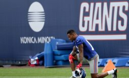 Giants wide receiver Kenny Golladay takes a moment to rest during Giants practice, in East Rutherford. Thursday, July 29, 2021  Giants