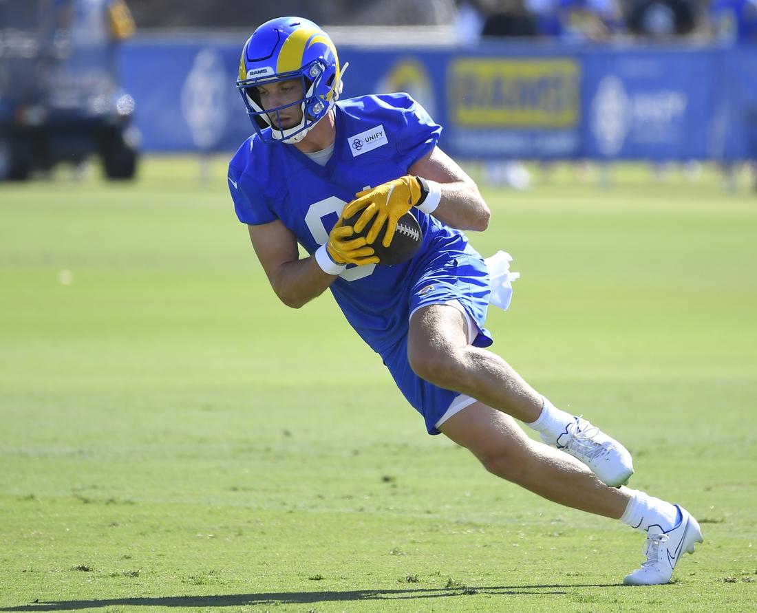Jul 29, 2021; Irvine, CA, USA;  Los Angeles Rams wide receiver Ben Skowronek (81) runs with the ball during training camp at University of California, Irvine. Mandatory Credit: John McCoy-USA TODAY Sports
