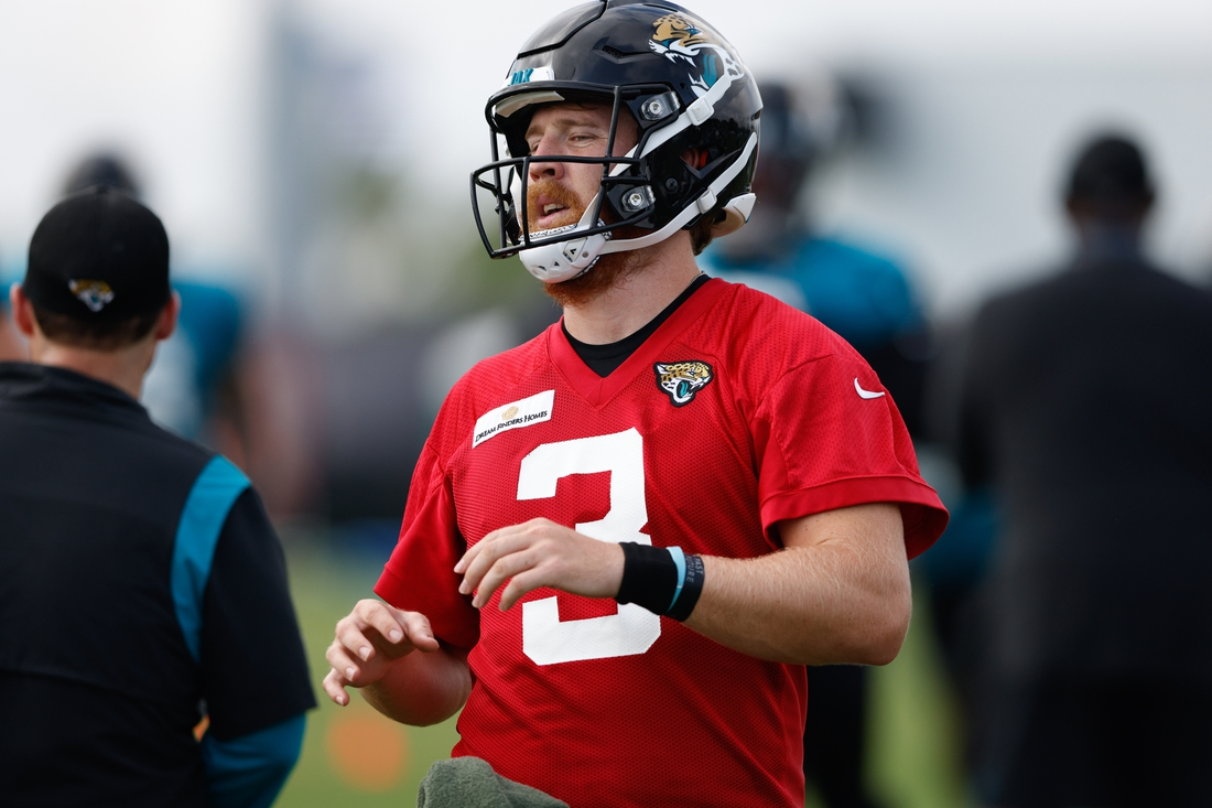 Jul 30, 2021; Jacksonville, FL, USA;  Jacksonville Jaguars quarterback C.J. Beathard (3) participates in training camp at Dream Finders Homes practice field Mandatory Credit: Nathan Ray Seebeck-USA TODAY Sports