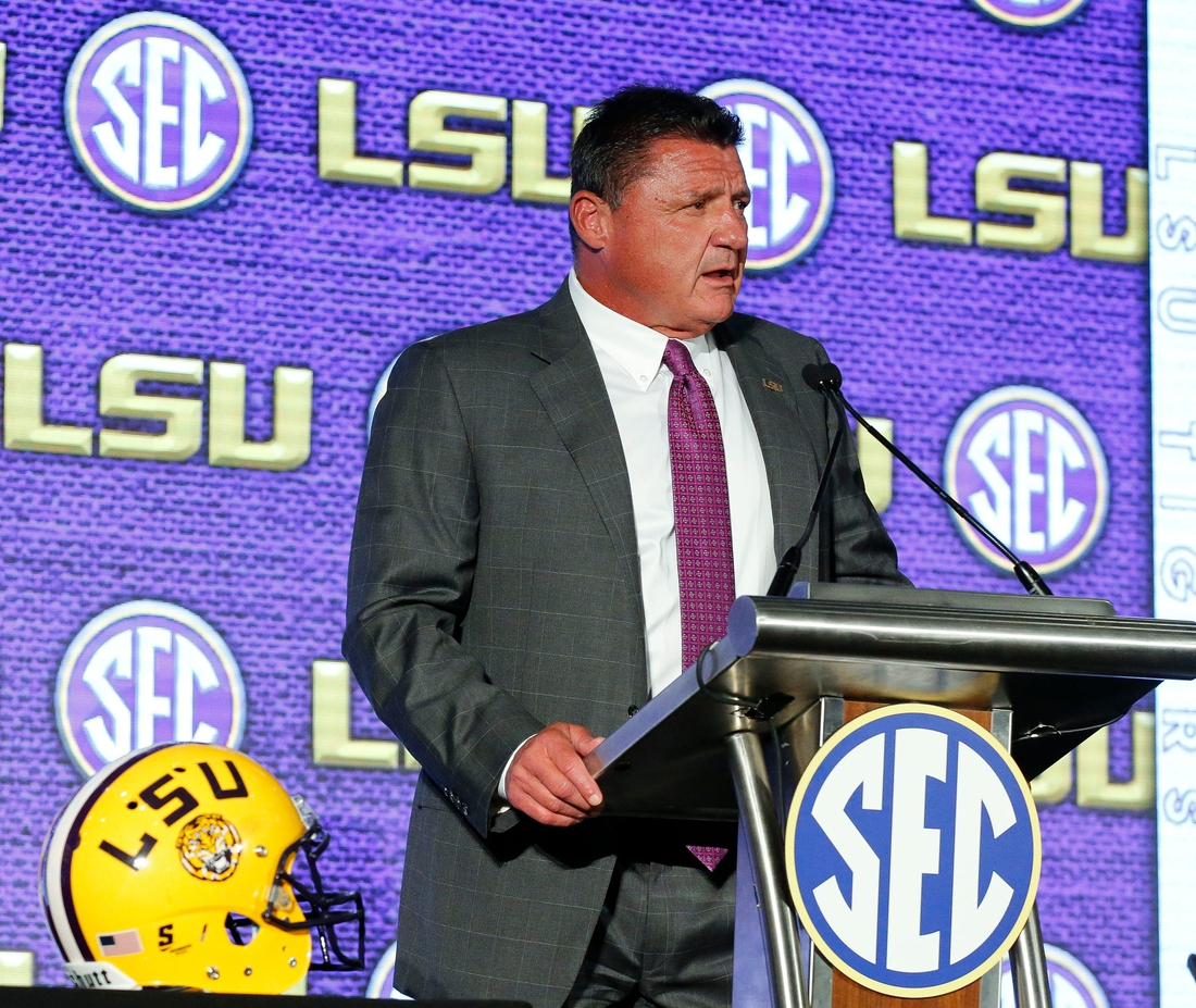 LSU Head Coach Ed Orgeron speaks to the media during SEC Media Days at the Hyatt Regency in Hoover, Ala., Monday, July 19, 2021. [Staff Photo/Gary Cosby Jr.]  Sec Media Days Ed Orgeron