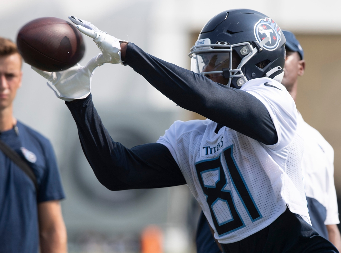 Tennessee Titans wide receiver Racey McMath (81) pulls in a catch during a training camp practice at Saint Thomas Sports Park Saturday, July 31, 2021 in Nashville, Tenn.  Nas 0731 Titans Camp 011