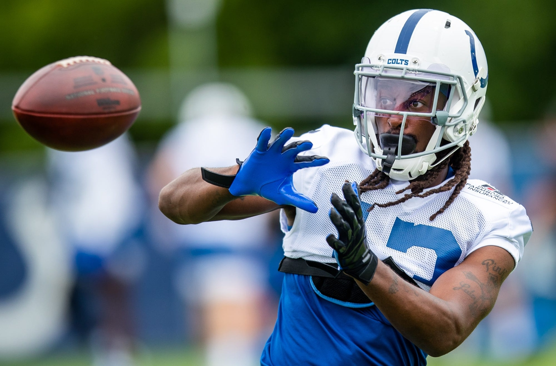 Indianapolis Colts wide receiver T.Y. Hilton (13) pulls in a pass during practice Saturday, July 31, 2021.